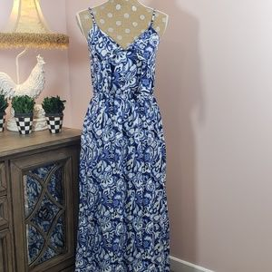 Gap blue and white patterned maxi sun dress sz. SM